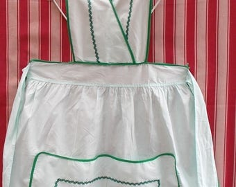 Vintage French Apron. Pretty Green Cotton.  New Old Stock.    1950's