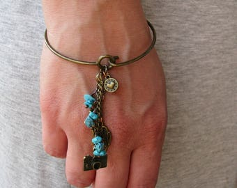 Bangle bracelet Turquoise bracelet Charm bracelet Bronze Drop Dangle bracelet Wire Heart Camera Butterfly bracelet Sister Girlfriend gift