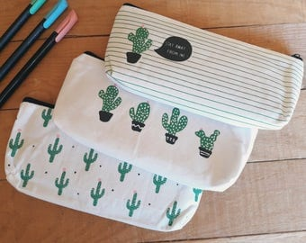 Cactus Fabric Case-school material case-canvas makeup bag