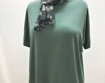 Individual, Unique, Batwing, Oversized, Top, Tunic, Short Sleeves, One Size, Green