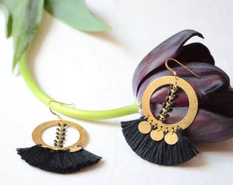 Round earring * luxuries * black and gold jewel luxury earrings gold and black