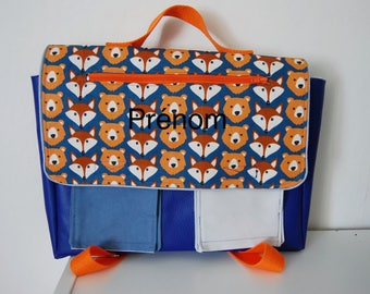 Kindergarten school bag personalized Fox and bear, Royal blue / orange