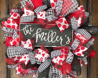 Customized - customized valentine wreath - valentine decor - personalized - valentine wreath - personalized decor - valentine door