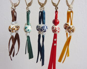 Fancy ribbons and beads earrings
