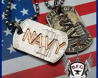 United States Military Service Branch Engraved  Mini Dog Tag  from a Kennedy Bicentennial Half Dollar W/ 30 inch Stainless steel Ball Chain