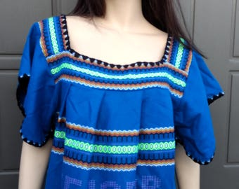 Vintage Wooven Embroidered Dress from Ecuador tunic caftan dress