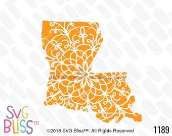 Louisiana SVG, Mandala, Doodle, Art, State, Cute, Cricut & Silhouette Compatible Cut File, DXF, Digital Download, Design, Original Art