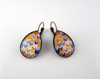 Earrings drops bronze fall chevron