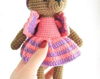 TEDDY BEAR amigurumi, amigurumi bear, crochet bear, teddy bear baby gift, teddy bear crochet toy, teddy bear gift, bear in dress, bear boy
