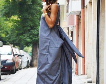Maxi Grey Cotton Dress, Plus Size Long Kaftan, Extravagant Loose Casual Dress, Sleeveless Zipper Dress by SSDfashion