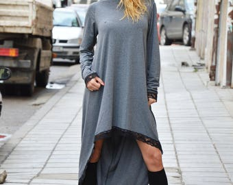 New Oversize Maxi Tunic Top, Loose Casual Dress, Asymmetric Sleeves Tunic, Long Gray Dress by SSDfashion