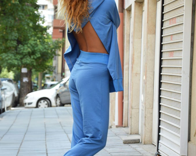 Women's Hooded Blue Maxi Set, Sport Hooded Sweatshirt, Drop Crotch Pants, Loose Casual, Fashion Set by SSDfashion