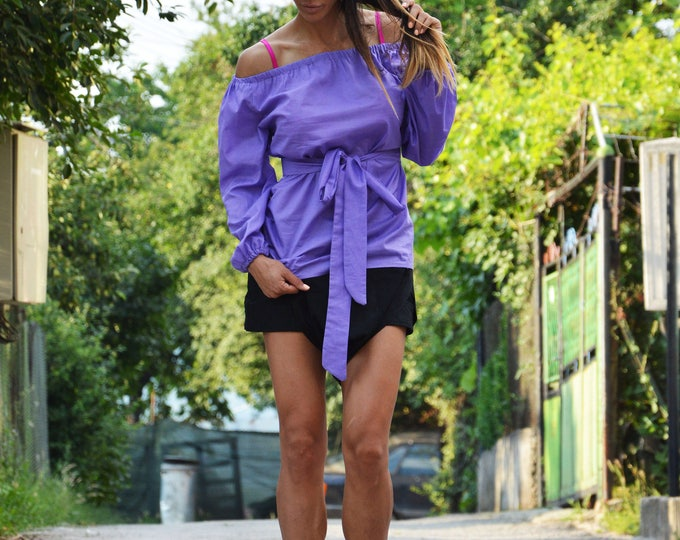 Loose Elegant Purple Shirt, Cotton Shirt, Oversize Maxi Tunic Top Design, Summer Shirt, Day Shirt,Party Shirt by SSDfashion