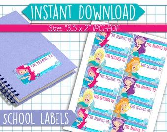 Mermaid Mermaids Back to School Name Labels - Printable School Labels - Back to School Stickers - Back to School Tags