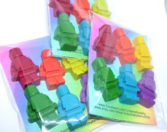 Mini Figure Crayons, Crayon Men Shapes, Lego Themed Crayons, Birthday Gift, Rainbow Crayon, Party Favours, Novelty Gift, Blocs Crayon