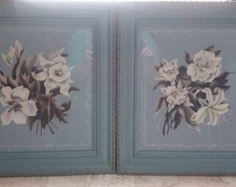 Pair of Vintage Blue Framed Floral Prints