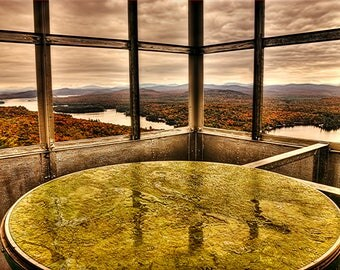 Fire Tower, Adirondack Mountains, Hiking Photo, Bald Mountain, Fourth Lake, Autumn Landscape, Adirondack Photo, Fall Foliage, Landscape Art