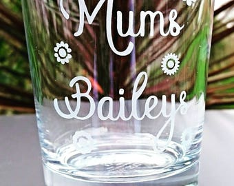 Personalised Engraved Bailey's Tumbler Glass - New - Handmade
