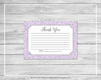 Purple and Silver Baby Shower Thank You Cards - Printable Baby Shower Thank You Cards - Purple Silver Baby Shower - Thank You Cards - SP153