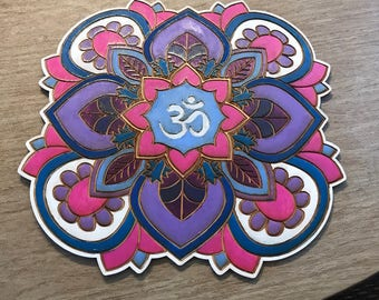 Painted Wood Mandala - Laser Cut - Painted Mandala  - Fine Woodworking - Wall Hanging