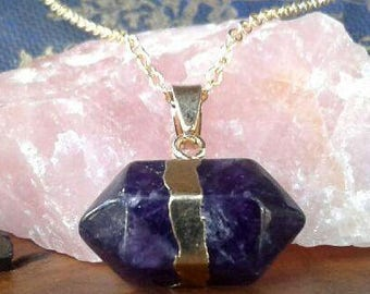 Handcrafted, Deep Purple Gold Plated Crystal Healing Point Necklace