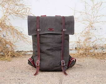Waxed Canvas & Leather Backpack