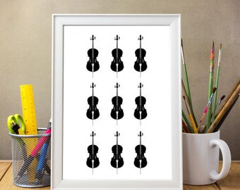Black and White Cello Poster A4 / A3