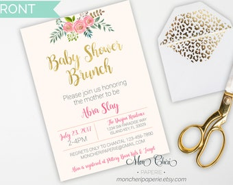 Baby Shower Brunch Floral Invitation | Baby Shower | Watercolor Floral  | Baby Shower Party Invitation | Printable Invitation | Invitation