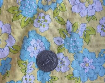 Yellow Blue White Floral Calico Cotton Fabric Yardage