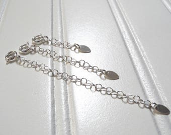 Add on Extender, Sterling Silver Extender 1, 2, 3 Inches, Sterling Silver Adjuster Chain, Bracelet or Necklace Extender
