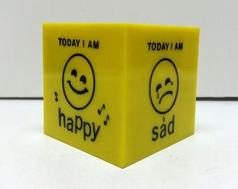 Vintage Retro Mood Cube Paperweight Yellow Cube Figure Block Today I Am Office