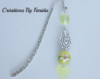 Earrings with yellow beads and leaf charms
