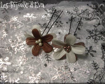 2 flowers with ivory pearls and chocolate - Eva jewelry picks