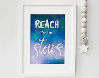 Written in the stars print - stars nursery art - typography print - inspirational quote print - colourful wall art - nursery print