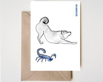 Scorpio Shiba Card, Horoscope Dog Sumi-e Ink Painting Zen B&W Illustration Fall Birthday Cute Zodiac Drawing Zodiac Wabi Sabi