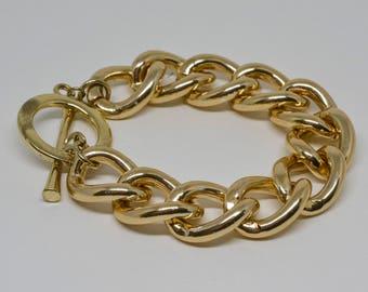 Gold Tone Large Link Bracelet