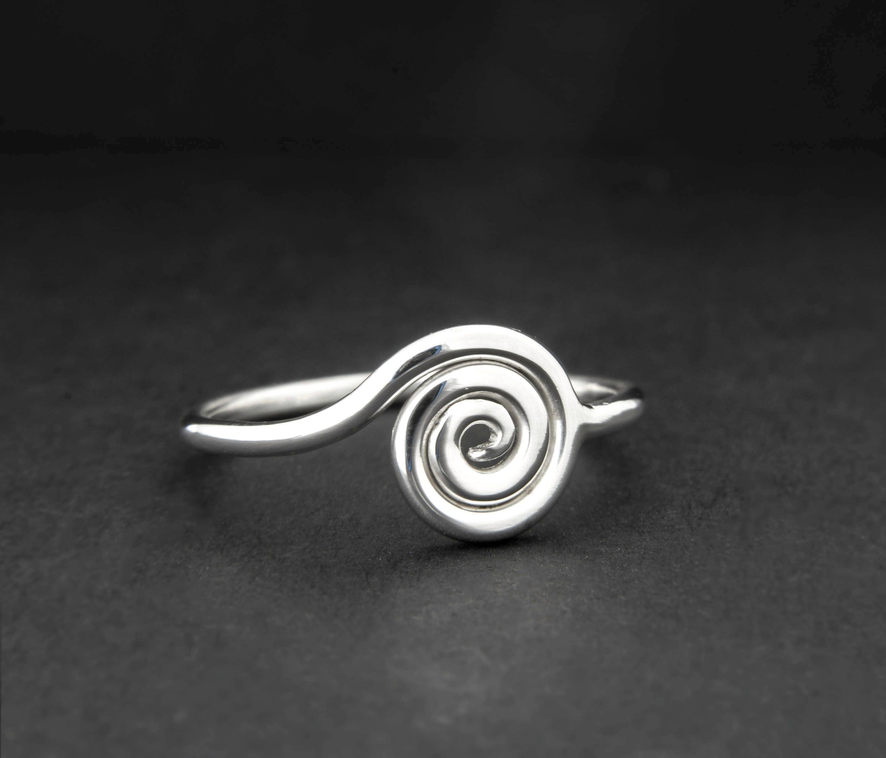 silver spiral ring swirl ring surfer jewelry s