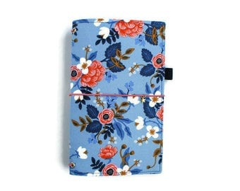 Rifle Paper Co Fauxdori Travelers Notebook Bullet Journal Rifle Journal Floral Notebook Cover Elastic Journal Fabric Midori Cover HARLOW