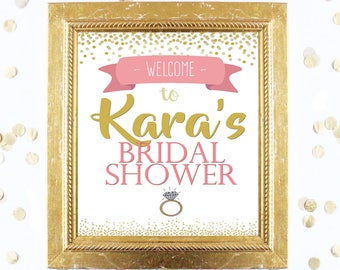 Bridal or Baby Shower Welcome Sign Customized - Coral and Gold - Instant Printable Digital Download - diy Bridal Shower Printables and Games