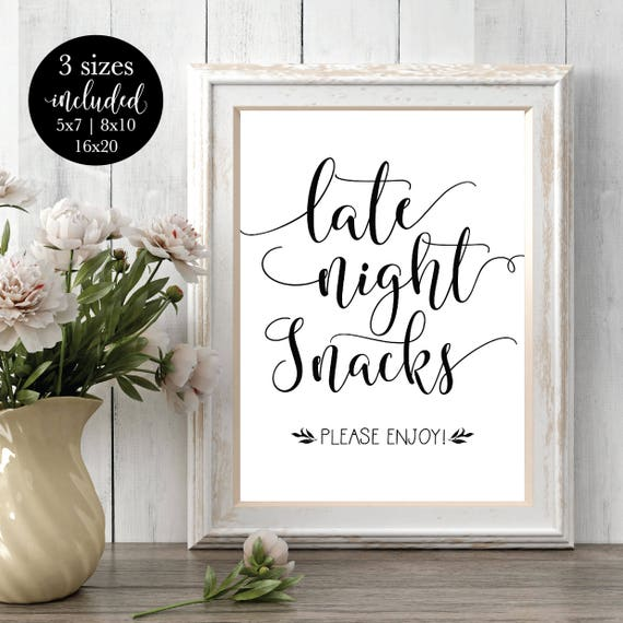 Late Night Snack Ideas For Weddings: Late Night Snacks Printable Wedding Party Sign Rustic Food