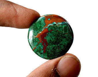 Chrysocolla 28 Cts AAA Quality Natural Gemstone Attractive Designer Round Shape Cabochon 25x25x4.6 MM R14150