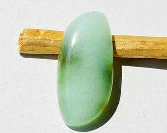 80% Sale 31.5 Cts Natural Beautiful Green Chrysoprase Gemstone Fancy Shape Loose Cabochon 34x16x7 MM R10969