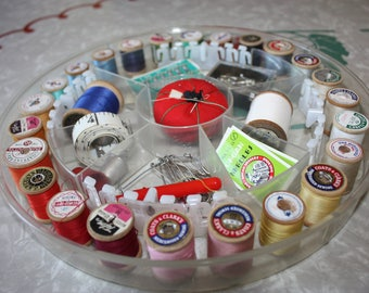 Vintage Sewing Case, Notions, Thread, Hooks and Eyes, Pincushion, Pins, Plastic Kit, Gift