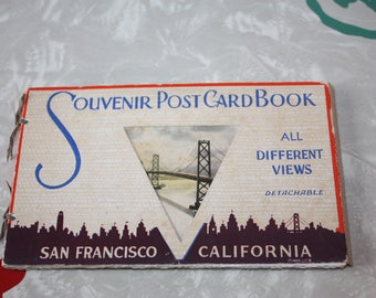 Vintage San Francisco Postcard Book, Souvenir, Gift, 20 Cards, 1940s
