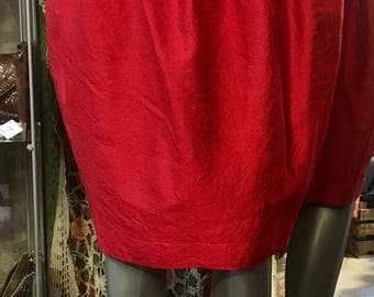 1990' red silk, hoop skirt, without lining. Size S.