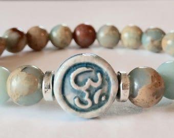 Yoga Bracelet, Om Bracelet, Aqua Terra Jasper Bracelet, Gemstone Bracelet, Beaded Bracelet, Ohm Bracelet, Bohemian Bracelet, Yoga, Jewelry