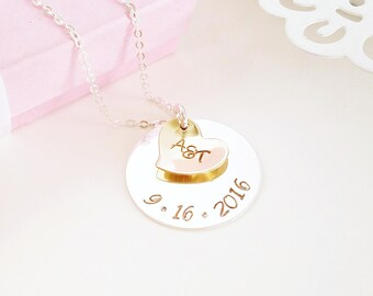 Personalized Anniversary Necklace - Handstamped - Anniversary Necklace - Personalized with Date and Initials