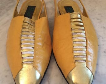 50offSale Vintage Elena gold ladies leather sling back gold shoes/size 8. Made in Spain.