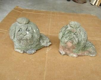 Maltese vintage dog statue stone figurines,porch display decor
