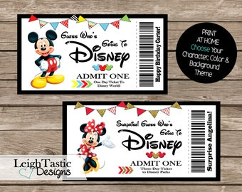 Print At Home, Birthday Surprise Ticket, Surprise Trip, Disney Ticket, Disney Pass Ticket, Disney on Ice, Universal Studios, Any Location